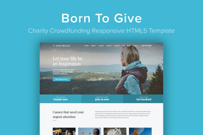 Thumbnail for Born To Give - Plantilla HTML5 de Crowdfunding