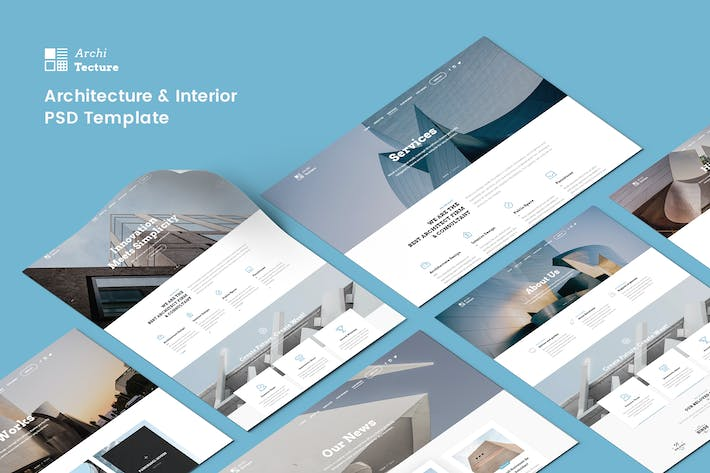 Thumbnail for Architecture & Interior PSD Template