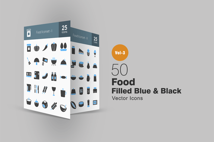 Thumbnail for 50 Food Blue & Black Icons