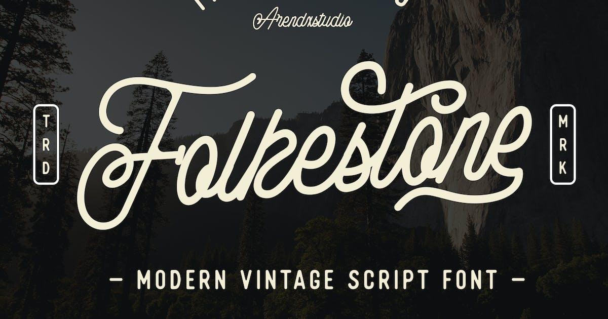 Download Folkestone - Modern Vintage Script Font by arendxstudio