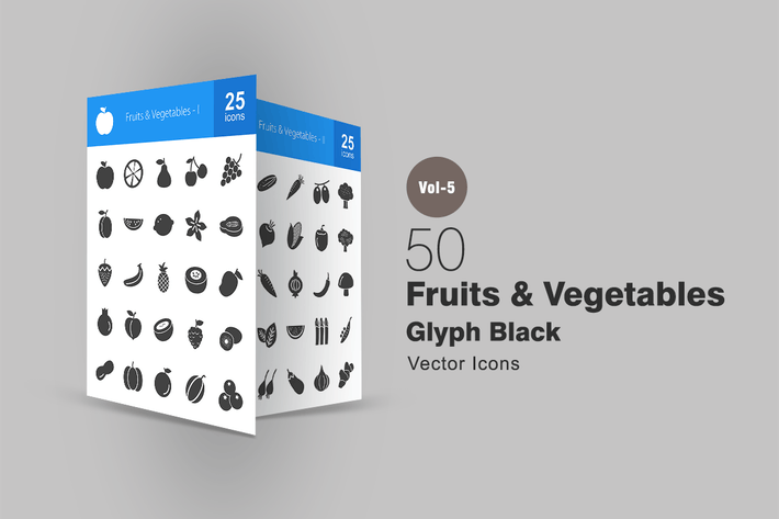 Thumbnail for 50 Fruits & Vegetables Glyph Icons