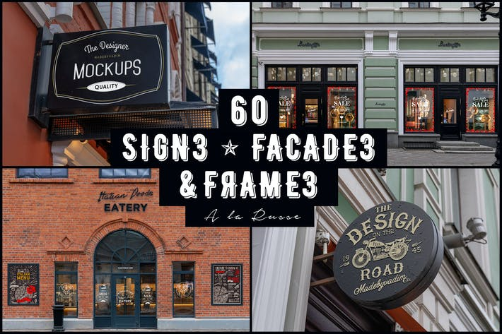 Thumbnail for 60 Signs, Facades and Frames mockups