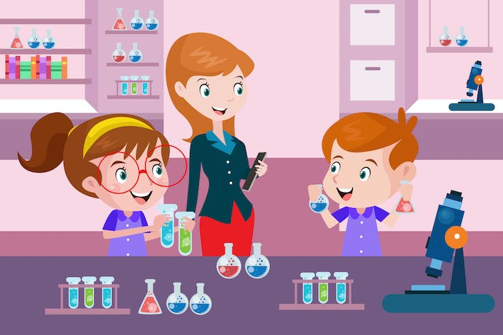 Thumbnail for Science Lesson For Kids - Vector Illustration