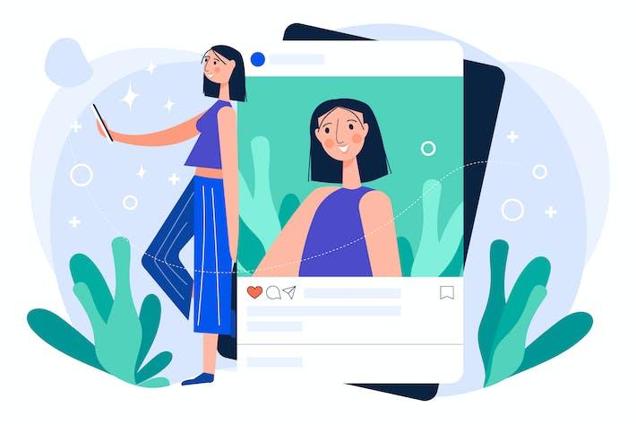 Thumbnail for Плоские социальные медиа иллюстрации