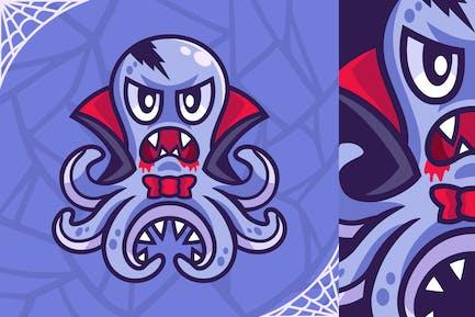 Vampire Octopus Halloween Cartoon Character