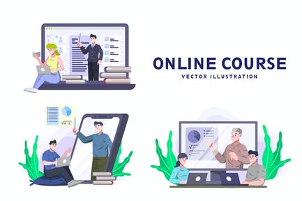 Online Course - Activity Vector Illustration