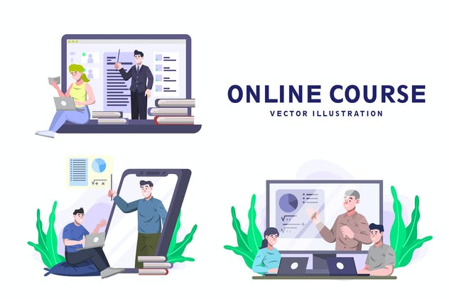 Online Course - Activity Vector Illustration