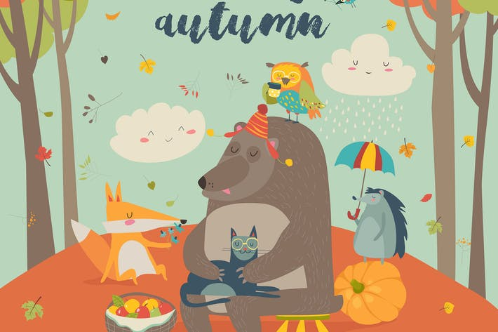 Thumbnail for Hello autumn background with cute animals. Vector