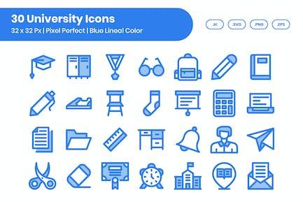 30 Universitäts-Ikonen-Set - Blaue lineare Farbe