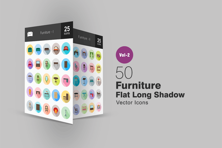 Thumbnail for 50 Furniture Flat Long Shadow Icons