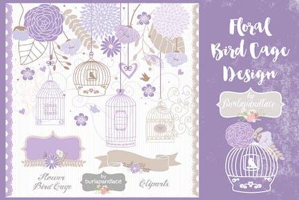 Vogelkäfig mit Blumenmuster, Violett