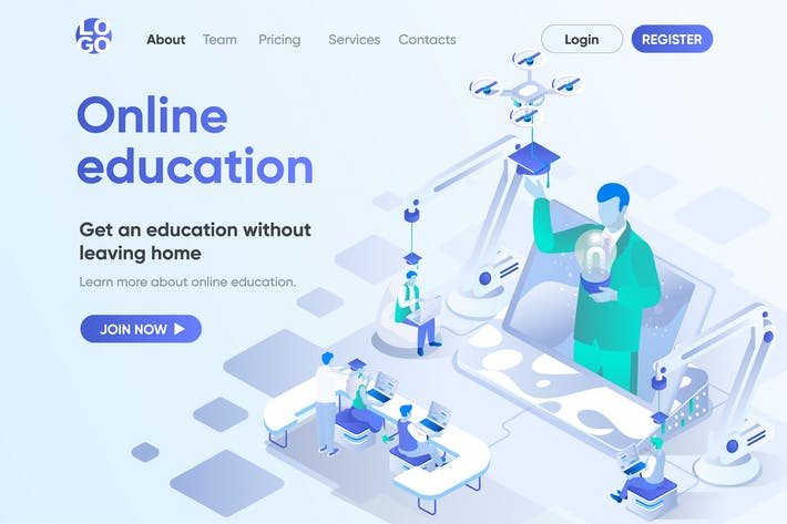 Online Education Isometric Concept Landing Page