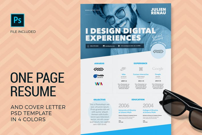 Thumbnail for One Page Resume & Cover Letter Templates