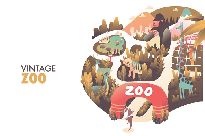 Thumbnail for Vintage-Farb-Zoo-Grafik
