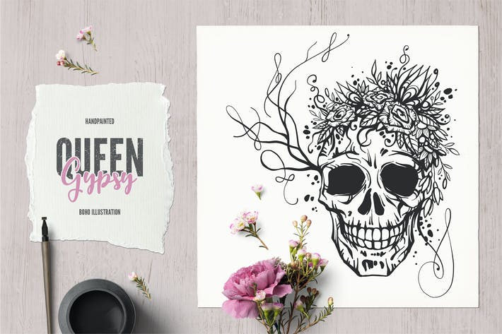 Thumbnail for Gypsy Queen Boho Tattoo Illustraton