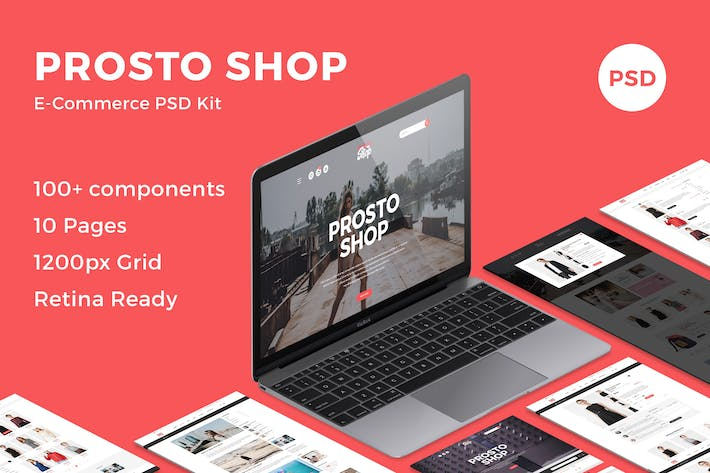 Thumbnail for Prosto Shop - E-Commerce PSD Kit