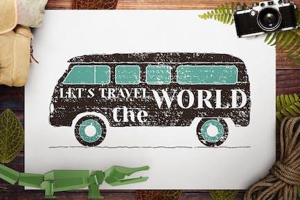 Retro Camping Logo / Vintage Travel RV Emblem