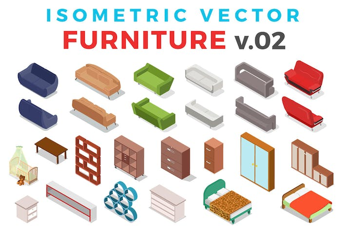 Thumbnail for Isometric Vector Furniture set v.02
