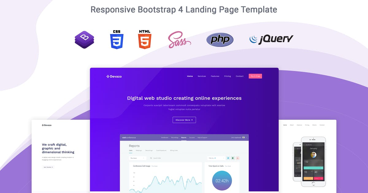 Download Devazo - Landing Page Template by themesdesign