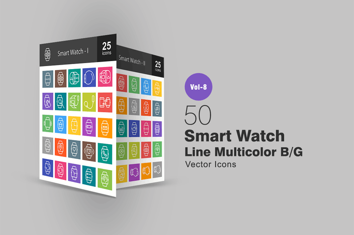 Thumbnail for 50 Smart Watch Line Multicolor B/G Icons