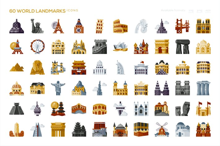 Thumbnail for 60 World Landmarks Icons