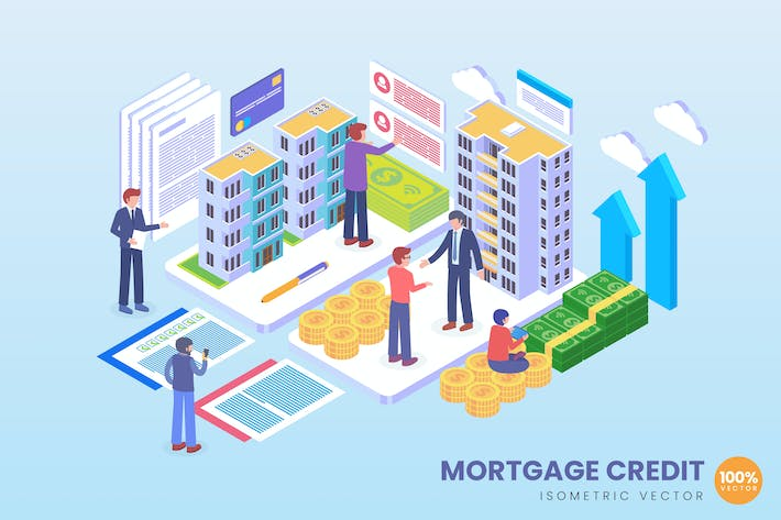 Thumbnail for Isometric Mortgage Credit Vector Concept
