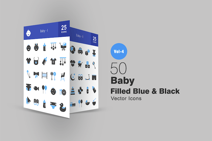 Thumbnail for 50 Baby Blue & Black Icons