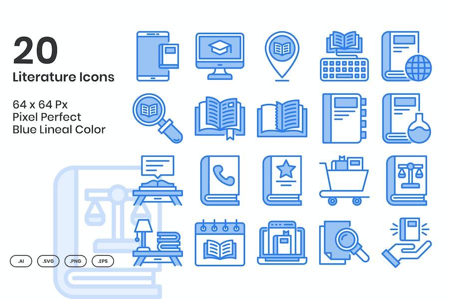 Conjunto de 20 Íconos de literatura - color lineal azul