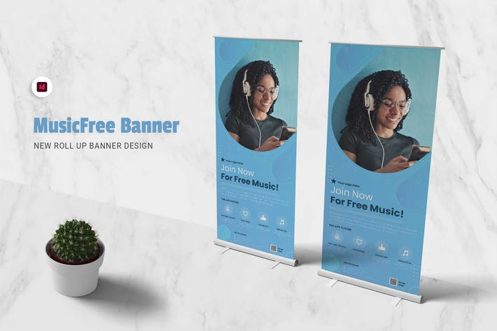 Music Free Roll Up Banner