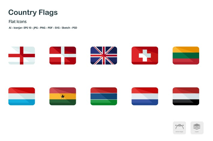 Thumbnail for Country Flags Flat Colored Icons