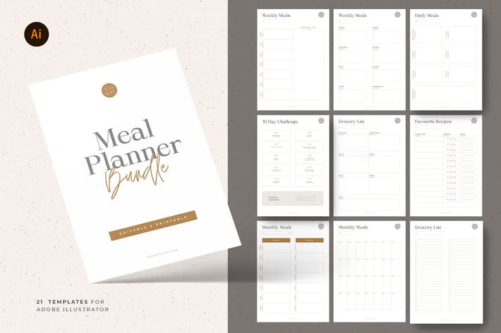 Thumbnail for Meal & Grocery Planner Templates