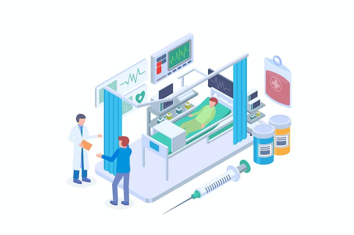 Hospital Intensive Care Unit Isometric Vector