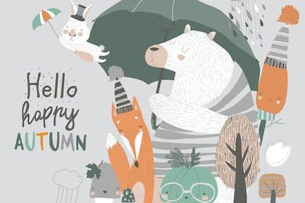 Animales divertidos bajo paraguas. Tiempo de otoño. Lluvia w