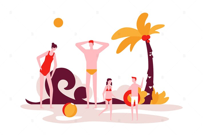 Summer vacation - flat design style illustration