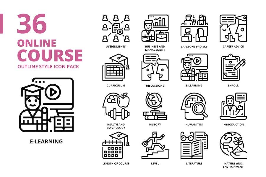Online-Kurs Gliederung Icon Set
