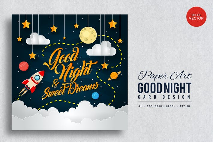 Thumbnail for Paper Art Good Night Vector Card Vol.3