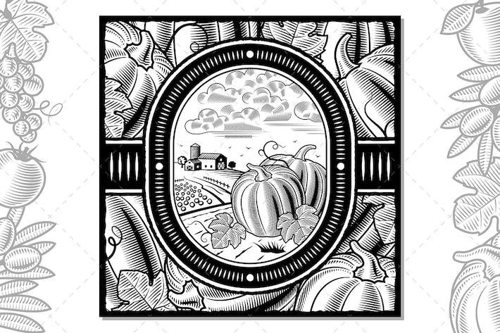 Thumbnail for Pumpkin Harvest Design Black And White