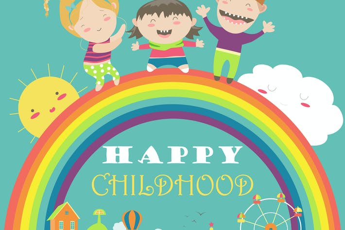 Thumbnail for Happy children with rainbow and carousel. Vector
