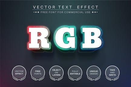 RGB color - editable text effect,  font style