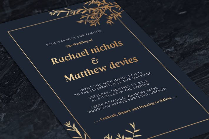 Thumbnail for Elegant Foil Leaves Wedding Invitations