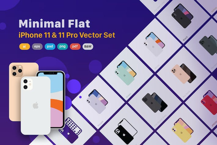 Thumbnail for Minimal Flat iPhone 11 & 11 Pro Vector Set