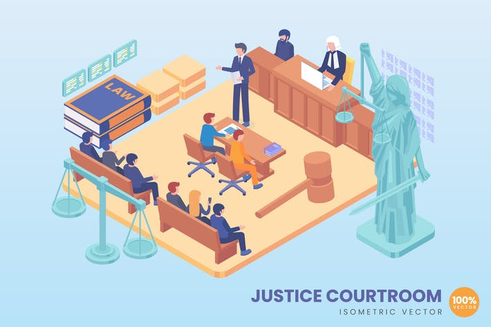 Thumbnail for Isometric Justice Courtroom Vector Concept