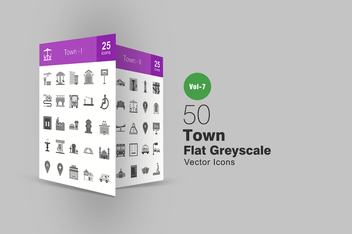 Thumbnail for 50 Town Flat Greyscale Icons