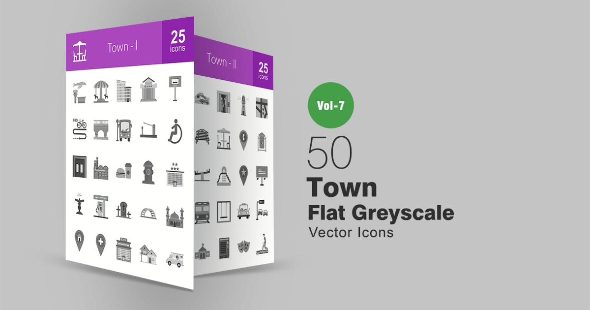 Download 50 Town Flat Greyscale Icons by IconBunny