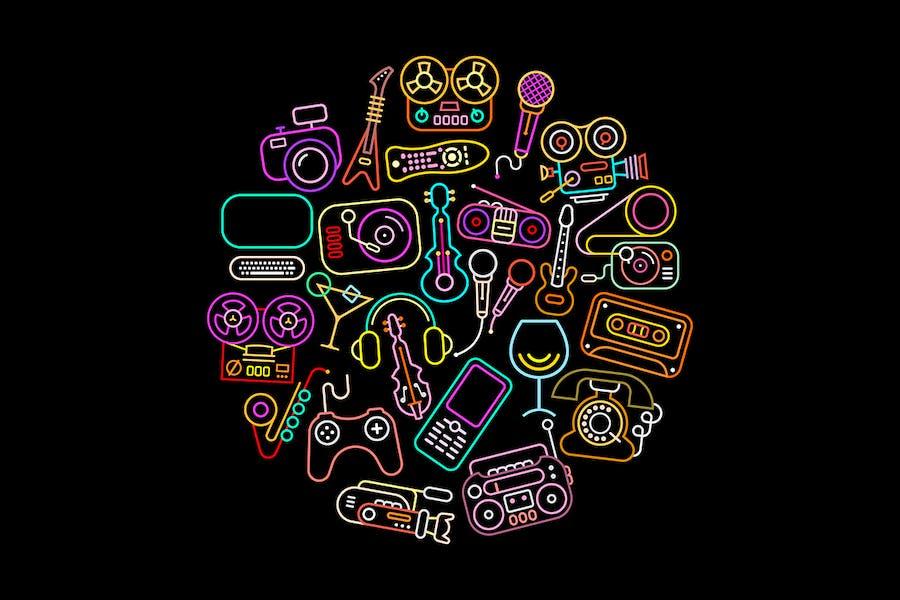 Neon Colors Entertainment Icon Set, round shape
