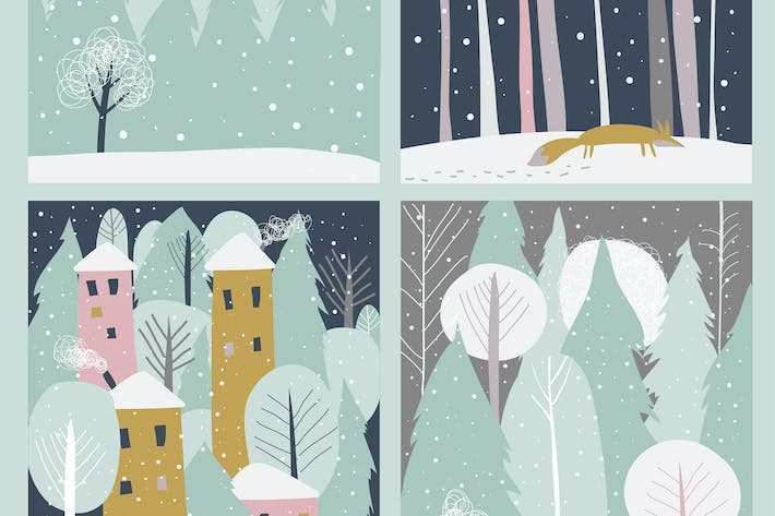 Thumbnail for Set of winter lanscape in flat style. Vector