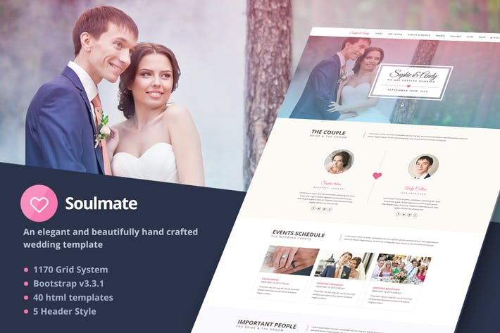 Thumbnail for Soulmate - Responsive Bootstrap 3 Wedding Template