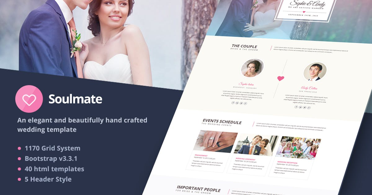 Download Soulmate - Responsive Bootstrap 3 Wedding Template by themeelite