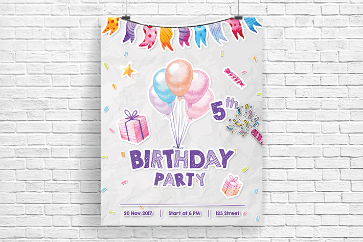 Paper Cut of Birthday Party Invitation Flyer