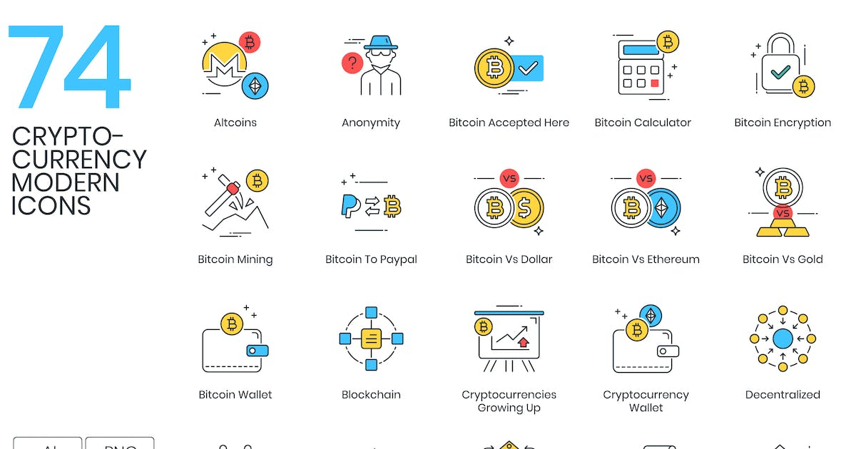 Download 74 Modern Cryptocurrency Icons by Krafted
